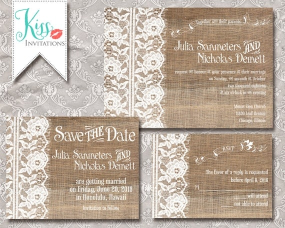 Burlap Wedding Invitations Diy: Items Similar To Printable Wedding Invitations Country