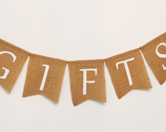 Gifts Burlap Banner - Gift Banner - Wedding Gifts Burlap Banner - Bridal Shower Gifts Banner