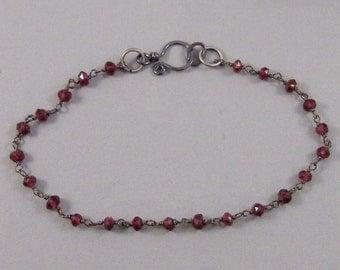 Garnet Bracelet,Bracelet,Garnet,Oxidized,Sterling Bracelet,Silver Bracelet,Garnet,Garnet Stone,Red Bracelet,Red Stone,Stone Bracelet,Gemston