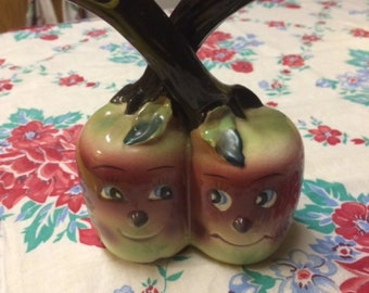 Vintage Anthropomorphic Apple Oil and Vinegar Holder