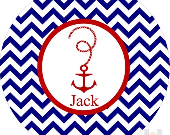 Monogrammed boys red white and blue anchor chevron plate.   A custom, fun and UNIQUE gift idea! Kids love eating on personalized plates!