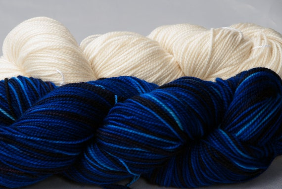 Yarn kit for Starry starry night socks designed by Suzanne Bryan