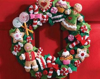 Bucilla Cookies and Candy Wreath Felt Kit NIP  - Sweet dreams of gingerbread
