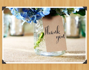 Printable Thank You Wedding or Shower Favor Tag, DIY, Instant Download, Printable PDF