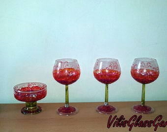 """Hand-painted set of """"Bottle of Champaign/Wine, glasses and candle-holder"""" original and unique gift for any occasion-sold"""