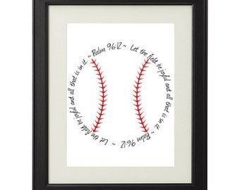 """Psalm 96:12 Printable Religious Bible Verse Baseball Sign, """"Let the Field be joyful and all that is in it."""" INSTANT DOWNLOAD"""