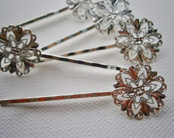 6 Silver Plated Filigree Bobby Pin 63mm.