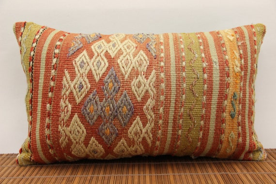 Long Decorative Pillows : Items similar to 12x20 Long Kilim Pillow Lumbar, Colorful Turkish Kilim Pillow Case, Bolster ...