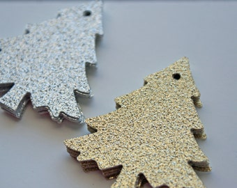Gold and Silver glitter Christmas tree gift tags - Set of 48