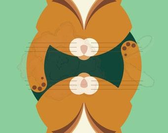 Cat, Meow - Geometric Animal Print - 10x10 - Digital Print - Geometric - Wall Art - Tabby, Orange, Teal & Green