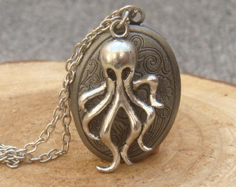 Silver Octopus Locket Necklace Victorian Jewelry Gift Vintage Style
