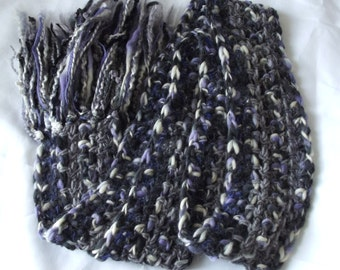 Stormy Skies Scarf, Crochet, Gray, Purple, Cream, Wool, Spring Thunderstorm, Rainy Days