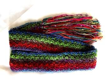 Crochet Skinny Scarf Rainbow Lightweight Red Aqua Blue Green Noro Silk Year Round Wear Wearable Fiber Art