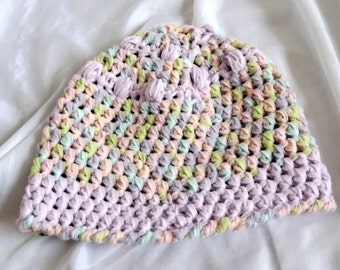 Crochet Baby Hat Pastel Fleece Infant Girl Soft Cozy for the Noggin Chemo Cap Lavender Pink