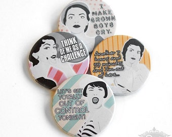 "cute as a button ""Retro Comic Girls II"" button/badges Set"