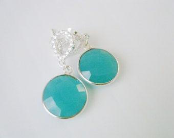 Chalcedony earrings Peru chalcedony green earrings Sterling silver CZ dangle earrings Luxury gemstone earrings CZ jewelry Gift for her