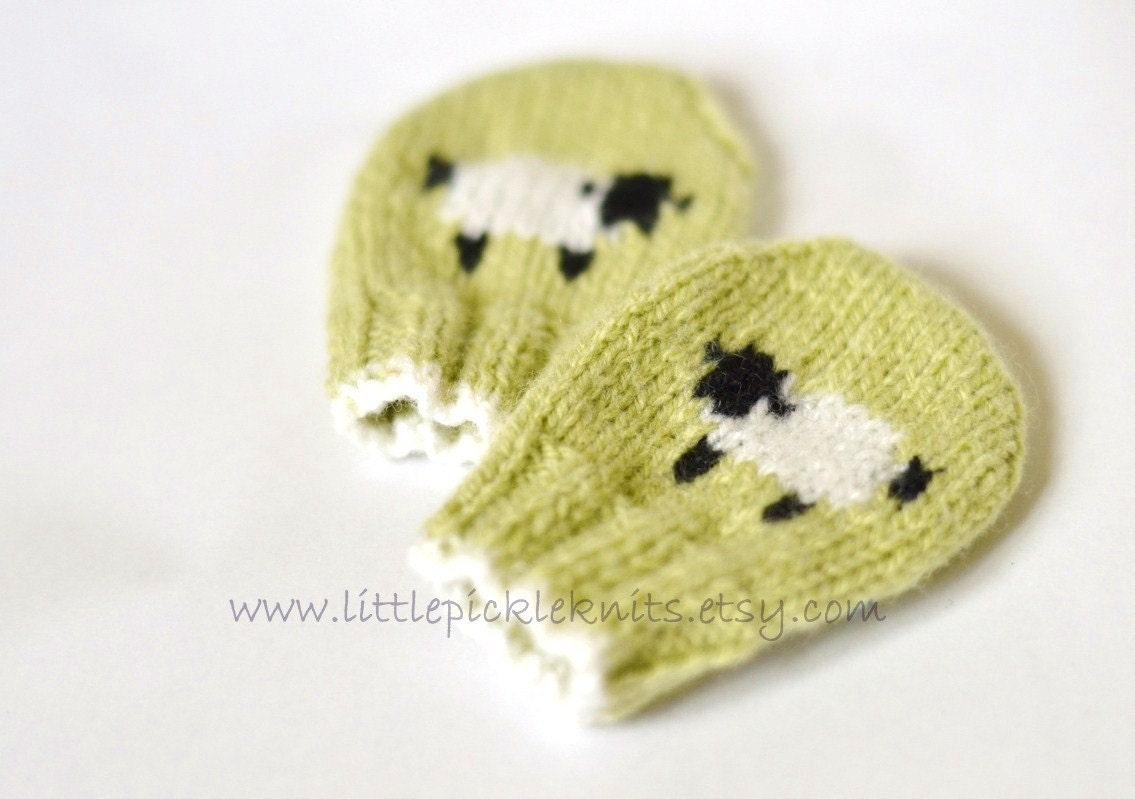 Knit Mitten Ornament Pattern : BABY KNITTING PATTERNS baby mittens little baa baa