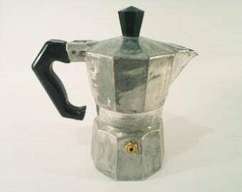 Vintage Moka Express Coffee Espresso stove top coffee maker, 1960s, Italy.