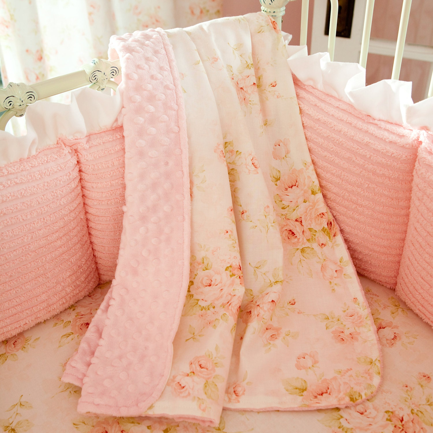 Girl Baby Crib Bedding Pink Floral Crib By
