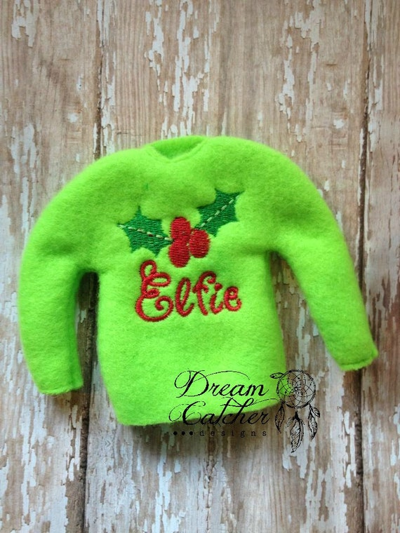 Ith small elf holly sweater embroidery design for Elf shelf craft show