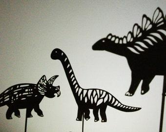 Dinosaur Shadow Puppet Set - 5 Laser Cut Puppets: Tyrannosaurus Rex, Brontosaurus, Stegosaurus, Dimetrodon and Triceratops