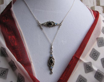 sterling silver double pendant necklace