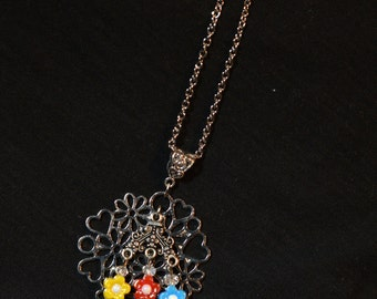 Antiqued Silver Flower Necklace