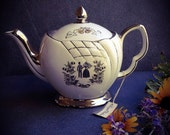 Our Wedding, Mid Century Royal Winton Teapot with Tag / Limited edition silver, cream, bride & groom teapot for anniversary or wedding gift