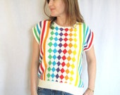 Vintage 80s Geometric Rainbow Sweater, Short Sleeve Graphic Stripes and Diamonds Medium
