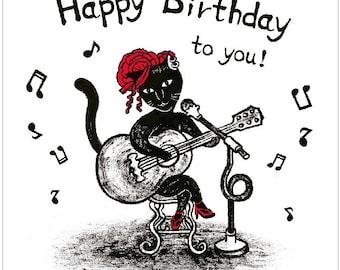Original Birthday Card - Singing Cat With Guitar