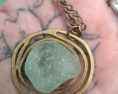 Teal Sea Glass on Copper Rose Pendant Necklace