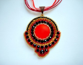 Bead embroidery jewelry, Beaded pendant, bead embroidery necklace