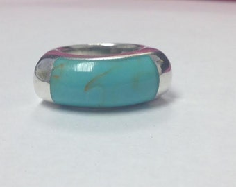 Beautiful Blue Turquoise Sterling Silver Ring Sz 5