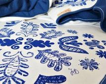 Baby Blanket Unisex Screen Printed Hungarian Floral Kalotaszeg Folk Pattern Newborn - Navy Blue