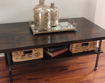 Steel And Pine Wood Coffee Table With Shelf