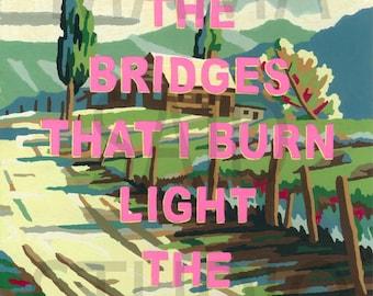 8x10 Print of Vintage Paint By Number PBN Bridges That Burn