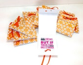 10 pack Lunch box notes handmade cards with orange flowers