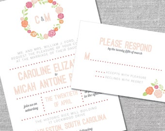 Printable Wedding Invitation and Reply Card | 5x7/3.5x5 | Floral Wreath