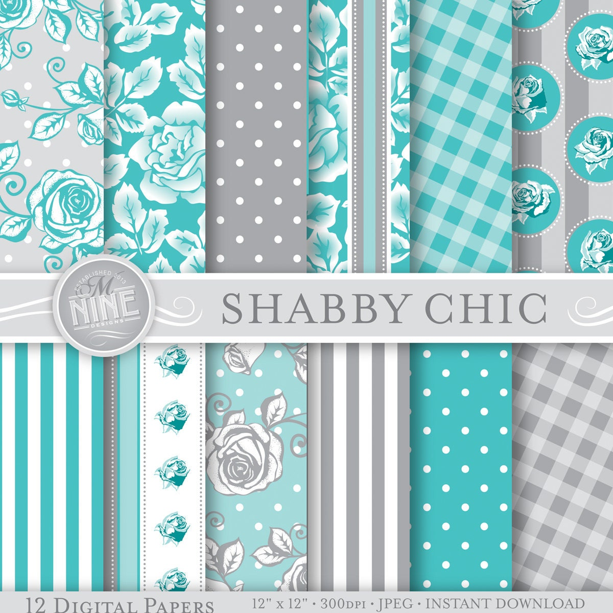 Shabby chic digital paper grey teal shabby chic printable - Telas shabby chic ...