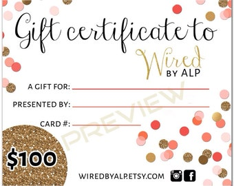 Gift Certificate 100 Dollars