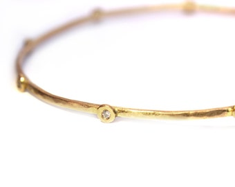 Gold bangle with diamonds, Delicate gold bracelet Bracelet, Hammered gold bangle, Bridal jewelry, Thin gold bangle with Diamonds