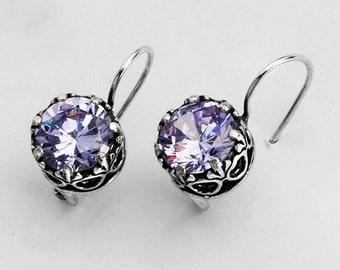 Beautiful .925 Silver Earrings With Lavender (Purple) CZ