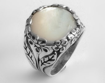 White Mother Of Pearl Stacker .925 Sterling Silver Sz Ring