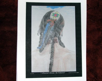 """Blank Note Cards, Native American drawing titled """" A Warriors Dream..."""""""