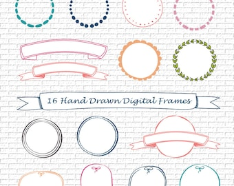 Hand Drawn Colored Digital Frames, Doodle Round Frames, Clipart, Instant Download, Personal and Commercial Use