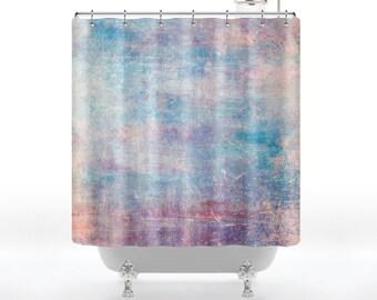 Grunge  Rainbow Watercolor Shower Curtain