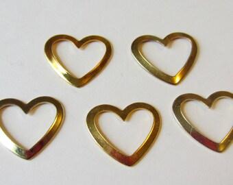 5 Goldtone Heart Charms
