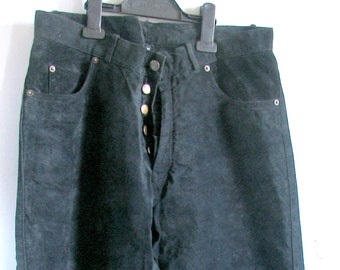 1980s Grey Suede Pants High Waisted Goth Pants