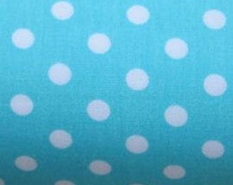 "White on Mint Green - 100% Cotton Poplin Dress Fabric Material - 7mm Polka Dot / Spot - Metre/Half - 44"" (112cm) wide"