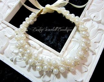 Vintage Style Lace Pearl Beaded Trim,Baby,Girl,Bridal Headband